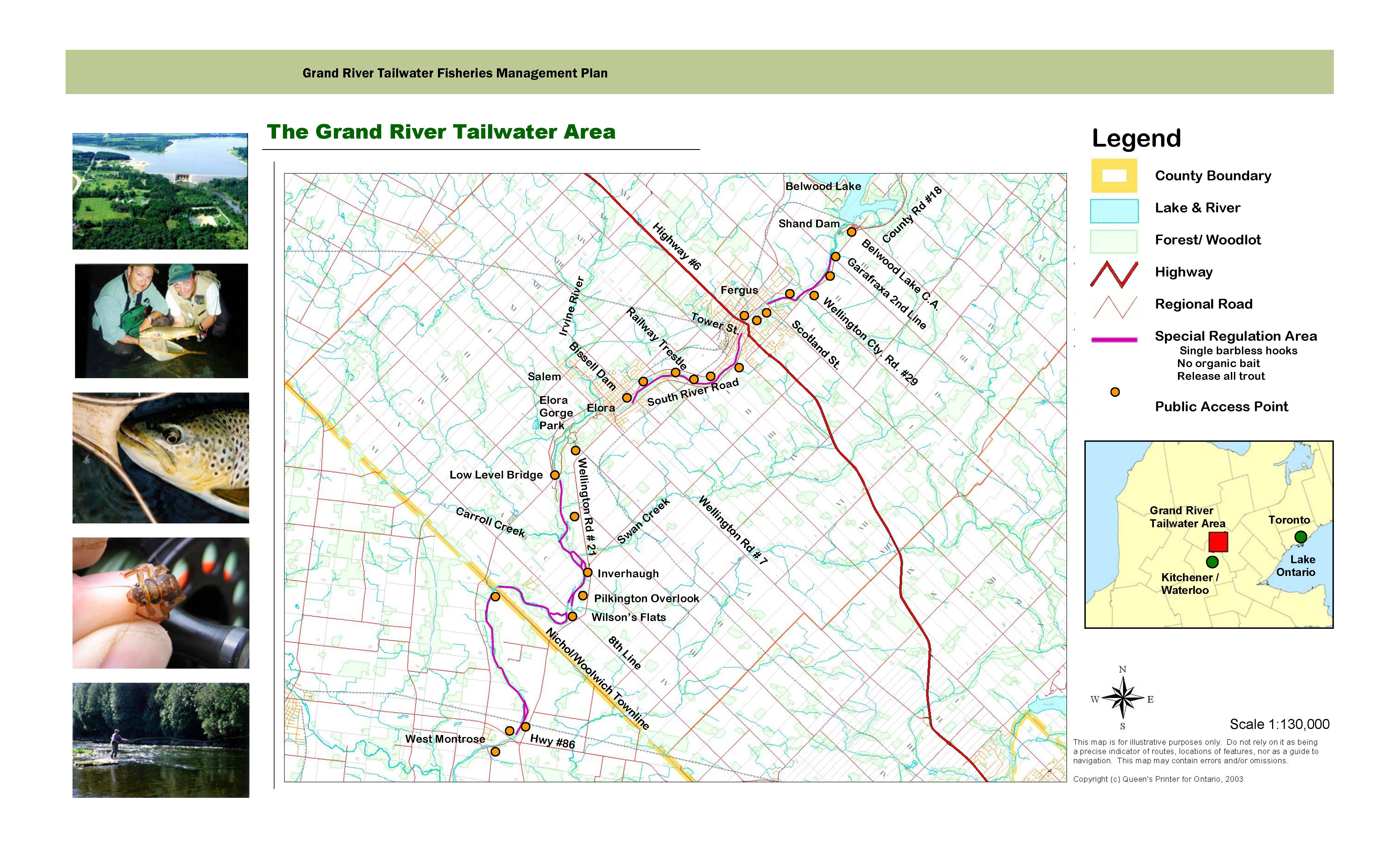 Grand River Flyfishing Maps - Ontario fishing lakes maps